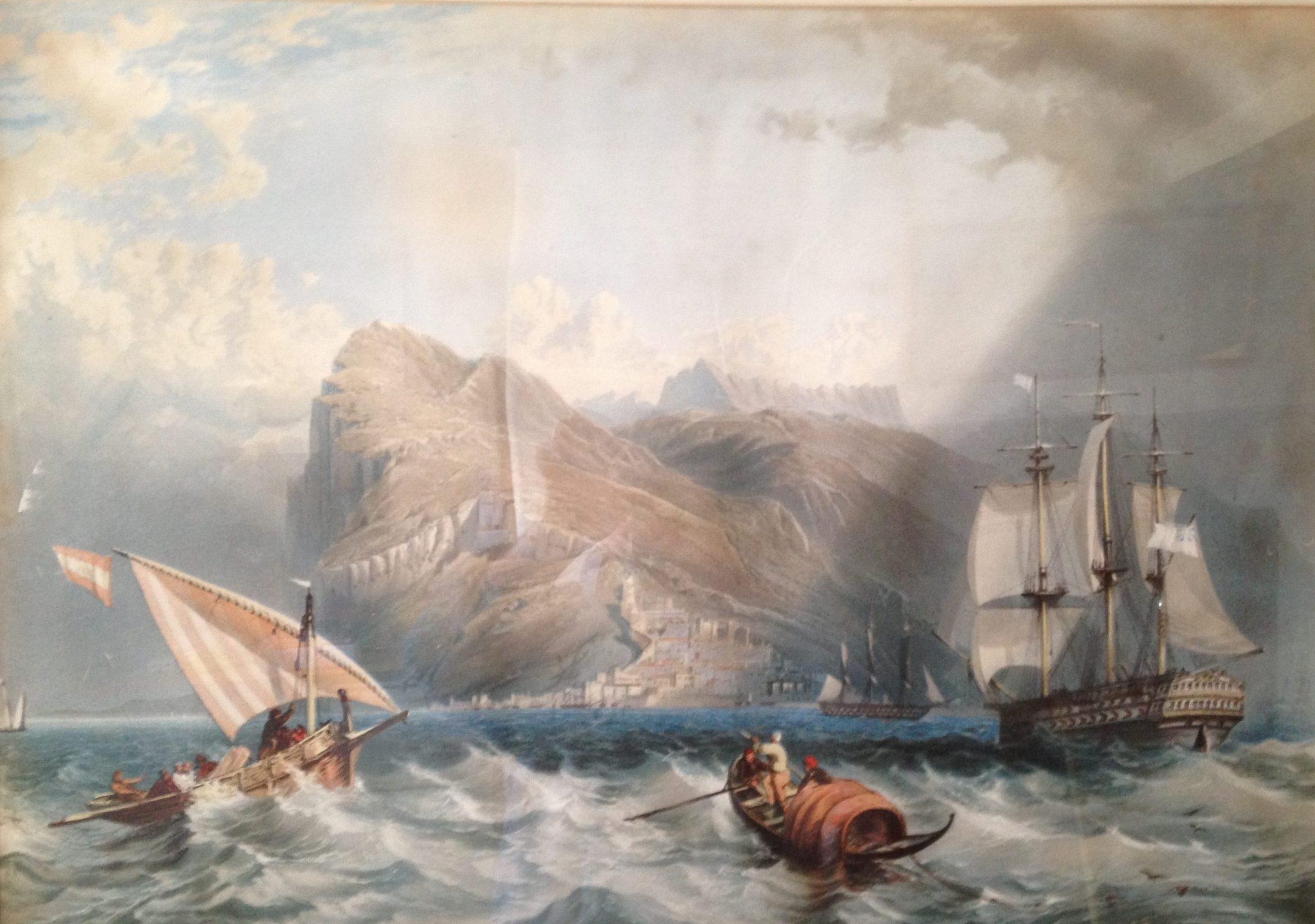 18th Century shipping battling a sharp squall